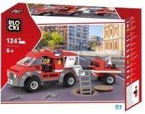 klocki blocki pepco straż pożarna wóz strażacki z przyczepą zabawki pepco